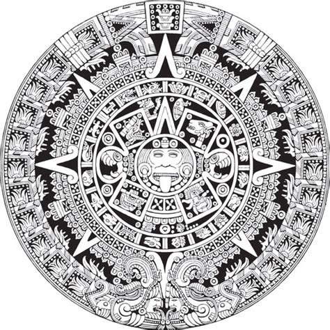 Calendario Azteca Vector Aztec Calendar Vector Eps