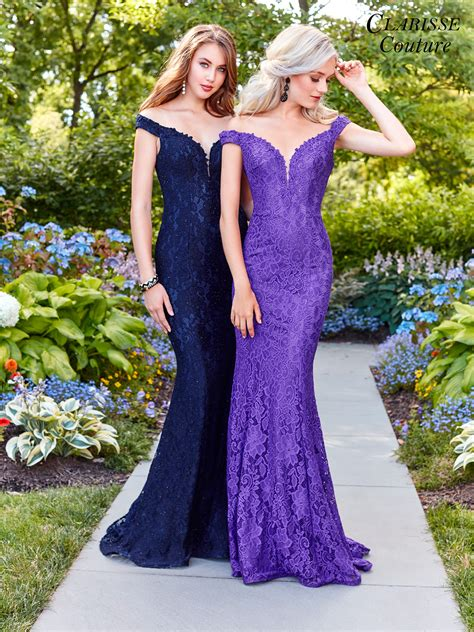 Shoulder Lace Evening Gown clarisse couture 4801 promgirl net