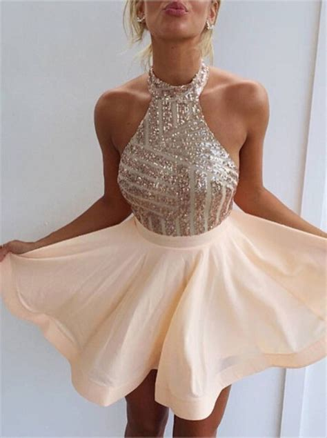 Kitchen Collections Stores by Halter Short Rose Gold Sparkly Homecoming Dress