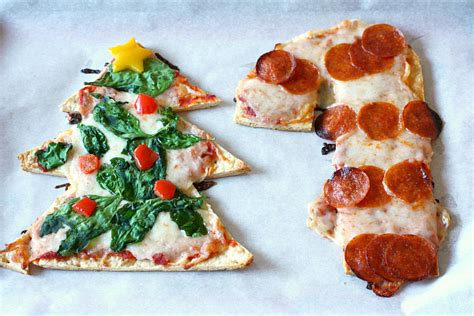 christmas pizza tree and shaped pizzas