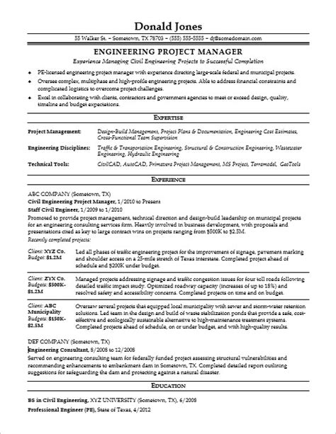 sle resume for a midlevel engineering project manager