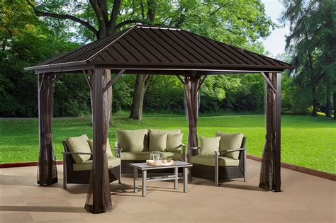 permanent gazebo sojag genova 16 ft w x 12 ft d metal permanent gazebo ebay
