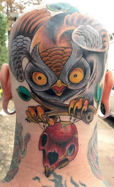 owl head tattoo owl skull tattoodenenasvalencia