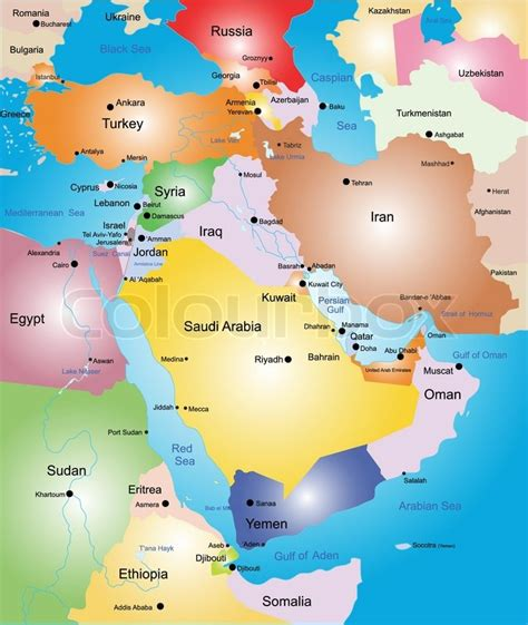 middle east map colored middle east vector color map stock vector colourbox