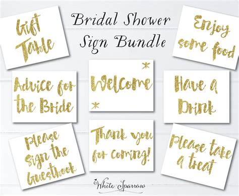 free printable wedding shower signs gold bridal shower signs 8x10 bridal shower decorations