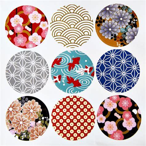 japanese designs 9 round japanese kimono design paper sticker labels 4cm
