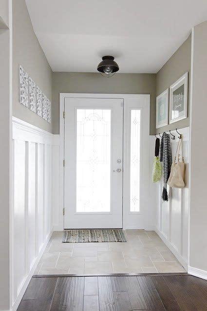 narrow entry hall idea  grey  black lamp