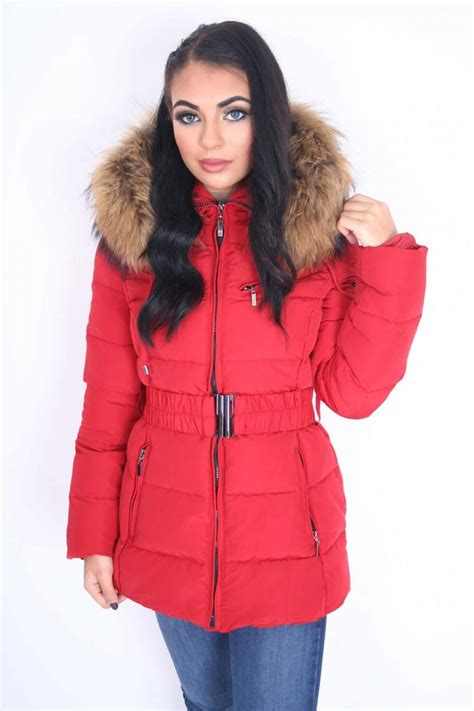 Quilted Coat With Fur by Luxury Quilted Coat Belt With Large Raccoon Fur