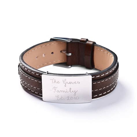 personalised sterling silver and leather bracelet by merci maman   notonthehighstreet.com