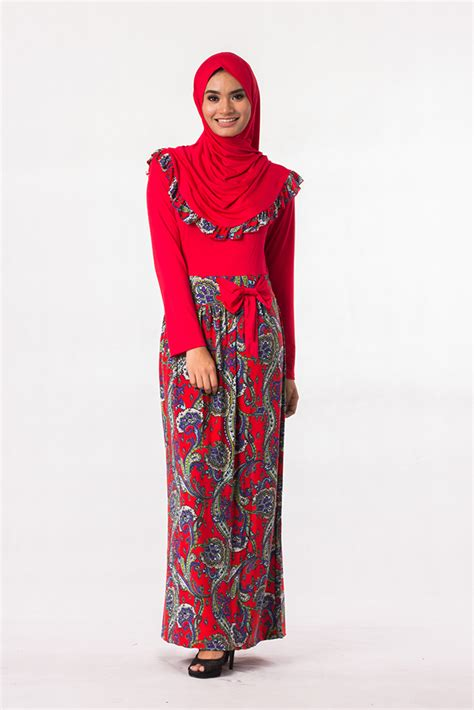 design jubah batik cotton fashion two piece joint batik design jubah dress with