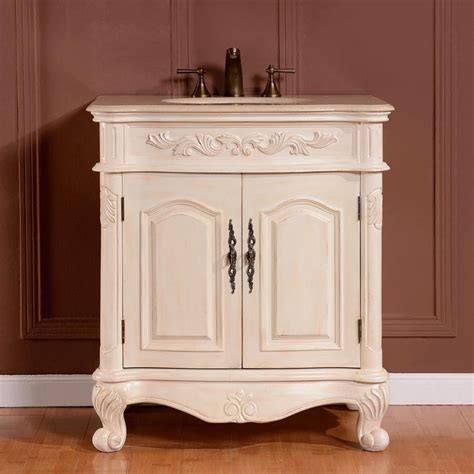 32 inch traditional single bathroom vanity with a cream