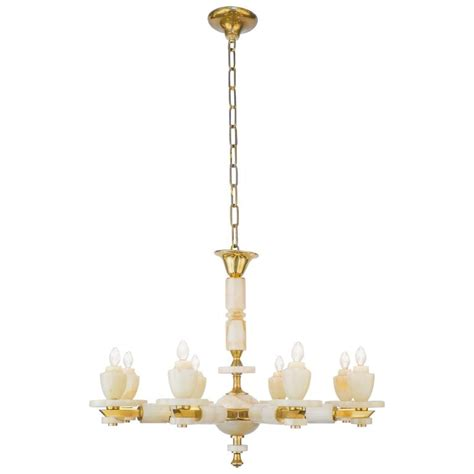 Onyx Chandelier Vintage Onyx And Brass Chandelier With Eight Arms For Sale At 1stdibs