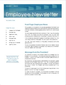 28 Ms Word Newsletter Templates For Professionals Templateinn Employee Newsletter Templates