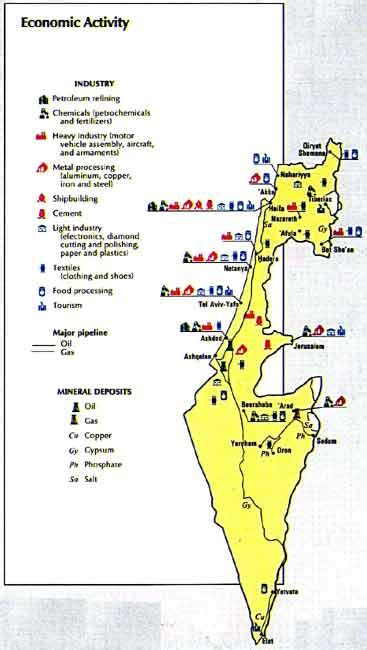 map  israel economic activity