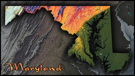 maryland map elevation maryland topography map colorizing terrain by elevation