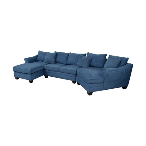 hm richards hm richards foresthill blue microfiber chaise  corner seat