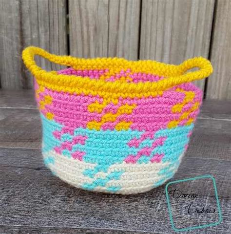knit and crochet daily colorful crochet gingham basket knit and crochet daily