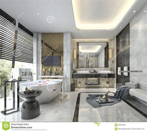 modern classic bathroom 3d rendering modern classic bathroom with luxury tile