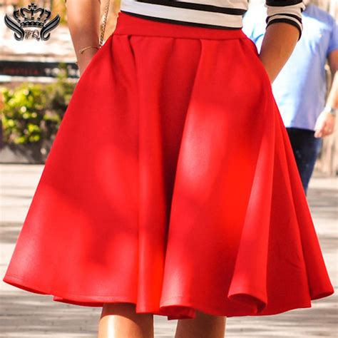 Pleated Midi Skirt Rok Murah Promo a line skirt solid black pink pleated midi skirts casual high waist skater