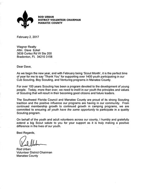 Fundraising Letter For Boy Scouts Wagner Realty Community Outreach