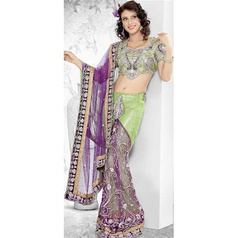 net saree draping style parrot green net lehenga style saree with dupatta online