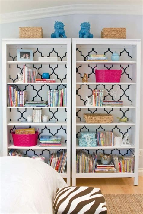 a fabulous diy bookcase paint bookshelf modpodge wrapping paper on the back of the shelves