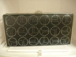 judith leiber satin swarovski jl monogram black evening