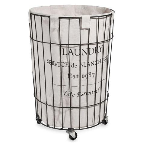 metal laundry metal laundry basket on wheels h 56 cm maisons du monde