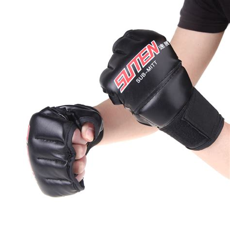 Thai Boxing Gloves 1pair 1 pair pu leather half mitts mitten mma muay thai punching sparring boxing gloves