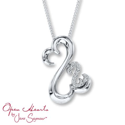 open hearts necklace accents sterling silver