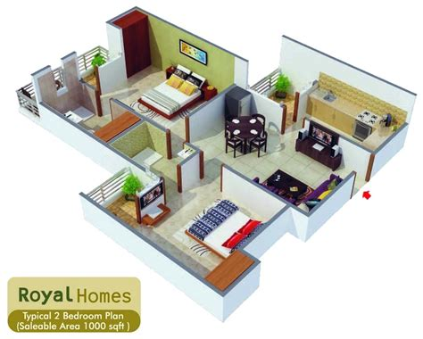 1000 square house design home deco plans
