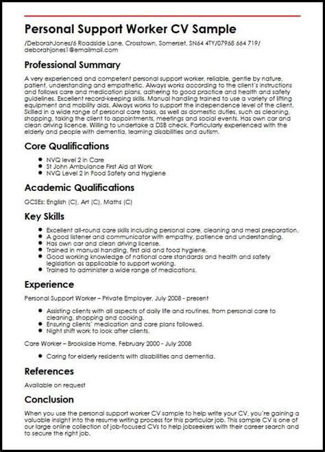 sle of resume for personal support worker personal support worker cv sle myperfectcv