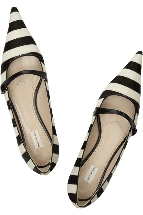 marc flat shoes marc striped calf hair flats in black lyst