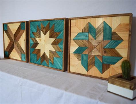 pattern wall decor wood wall art turquoise bundle tryptic set of three star