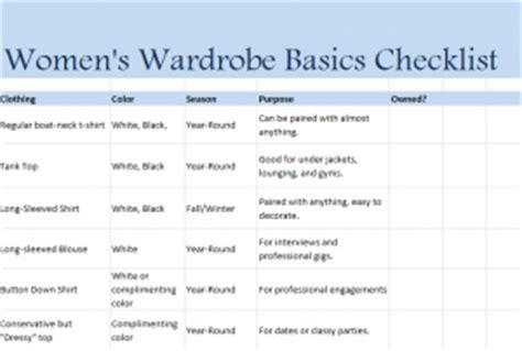 wardrobe checklist template gallery templates design ideas