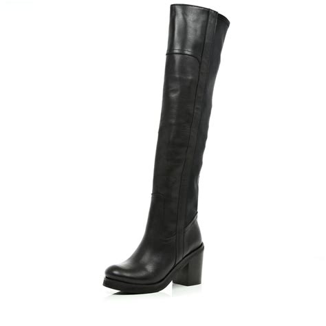 river island boots for river island black block heel the knee boots in black