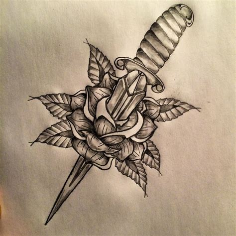 rose dagger tattoo dagger sketch by ranz