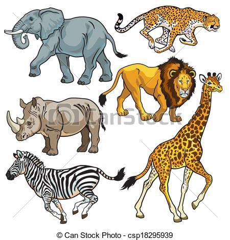 vectores de sabana, conjunto, animales, africano