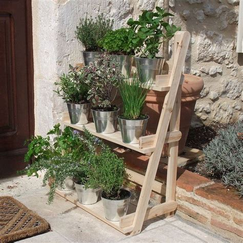 Wall Pot Stand 3 Tier Wooden Flower Stand Herb Plant Pot Shelves Garden