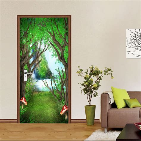 wall stickers and murals 3d forest falls 97 door wall mural photo wall sticker decal wall aj wallpaper au ebay