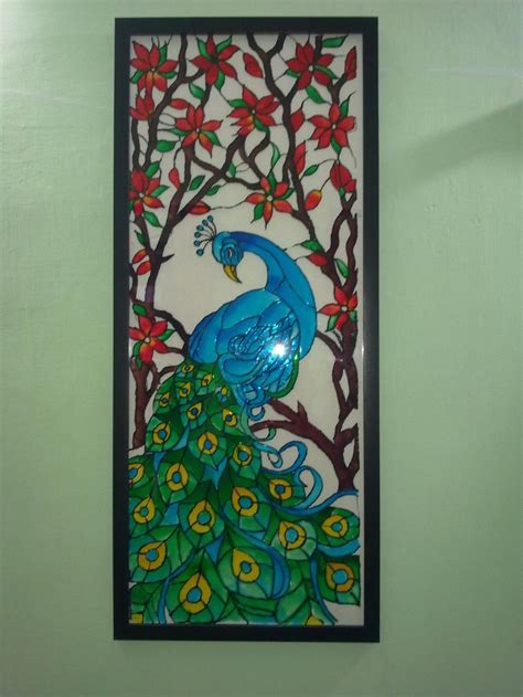 glass acrylic painting a glass painting of a peacock using fevicryl hobby ideas