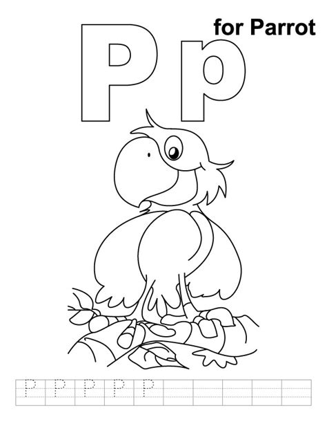 coloring book for a p p for parrot coloring page with handwriting practice