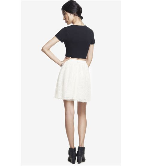 express high waist lace skirt in white ivory lyst