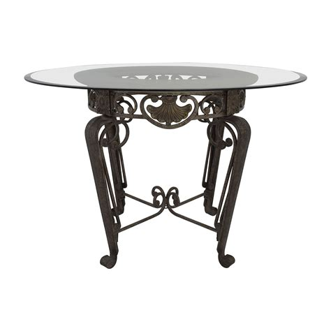 Metal Glass Top Dining Table 84 Scroll Metal And Glass Top Dining Table Tables