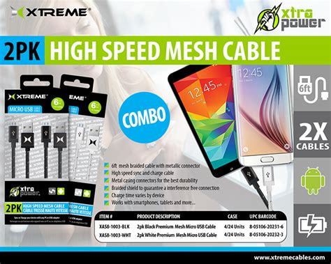 Satoo Xtreme Speed Charge Micro Usb Cable 1 2 Meter Original 2pk premium micro usb cables