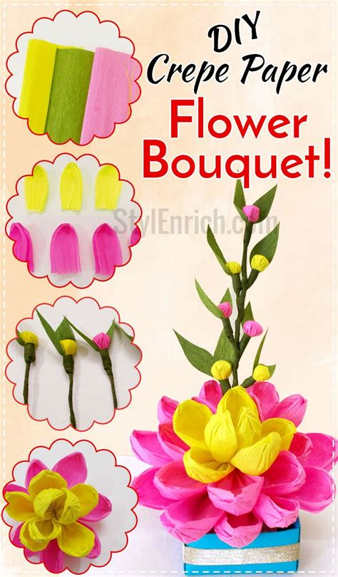 How To Make A Flower Using Crepe Paper - diy easy paper crafts let s make crepe paper flower bouquet