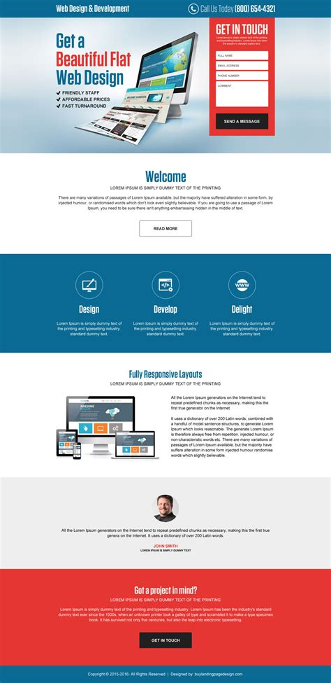 website landing page templates web design and development
