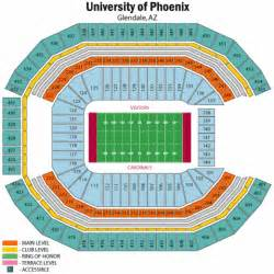 arizona stadium seating map arizona cardinals seating chart of