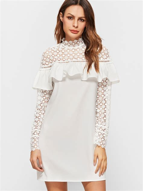 Flashed Frill Dress sheer embroidered lace shoulder and sleeve frill dress shein sheinside