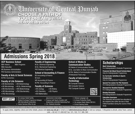 Punjab Mba Admission Criteria by The Of Central Punjab Lahore Ucp Admission 2018